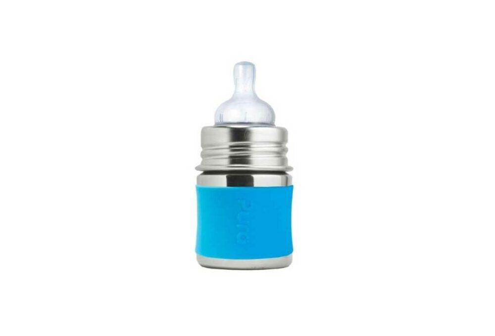 Biberó d'acer inoxidable blau 150ml PURA (tetina +0M)