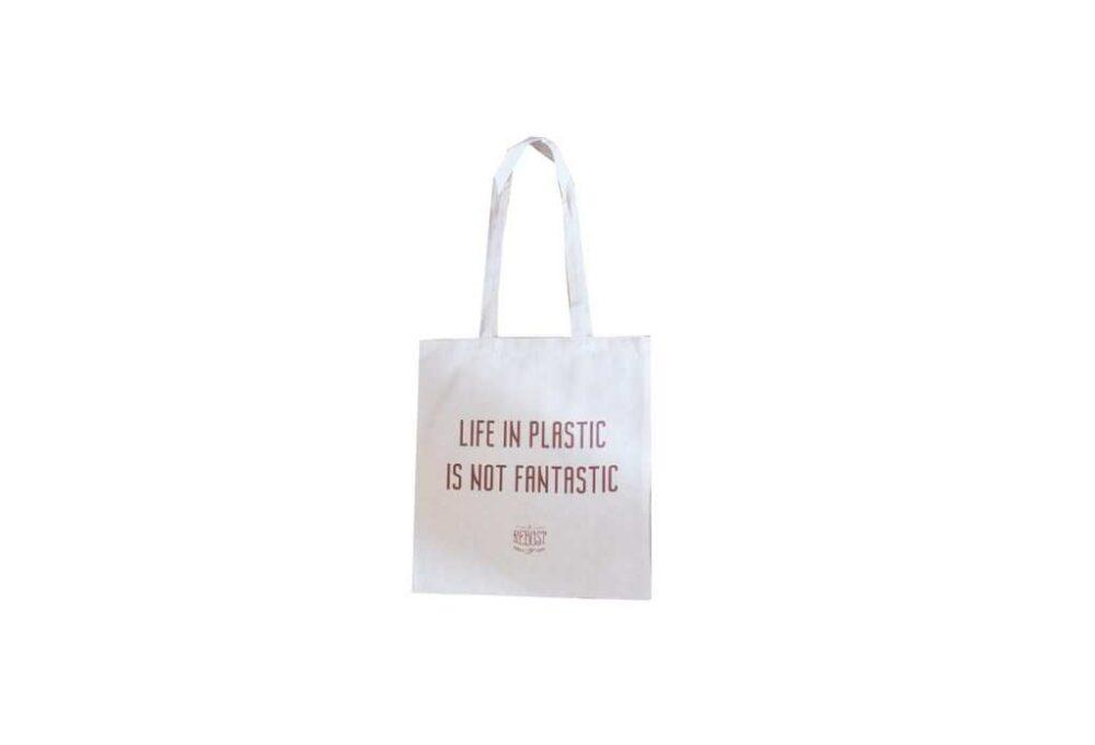 "Tote bag ""Life in plastic is not fantastic"""