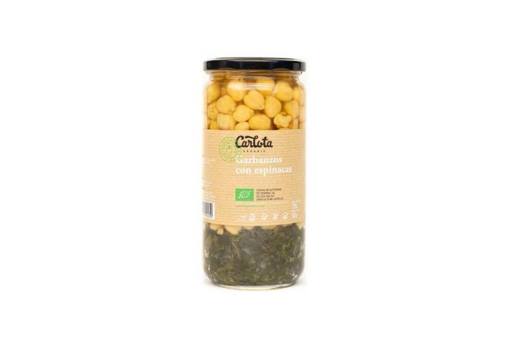 Cigrons ecològics amb espinacs 720g