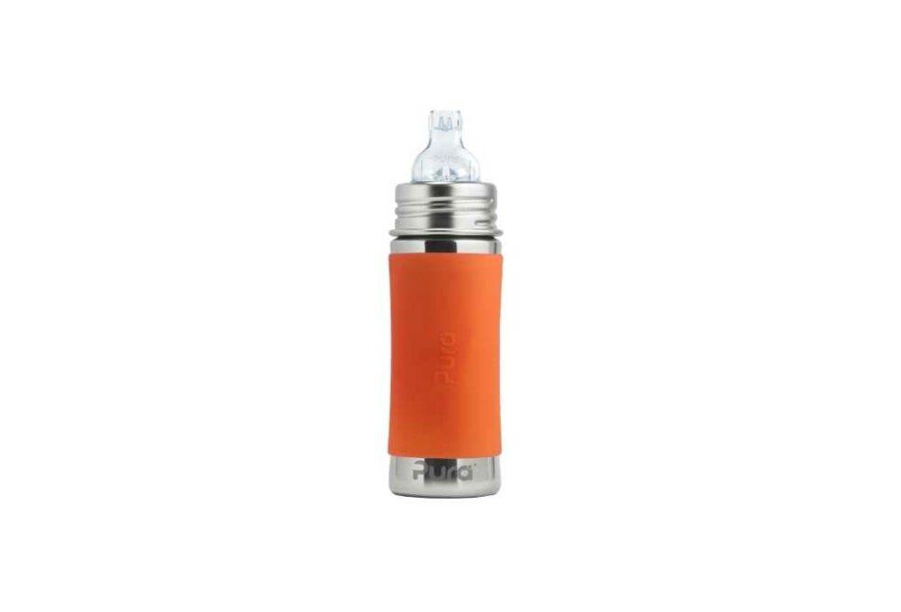 Biberó d'acer inoxidable taronja 325ml PURA (entrenament +6M)