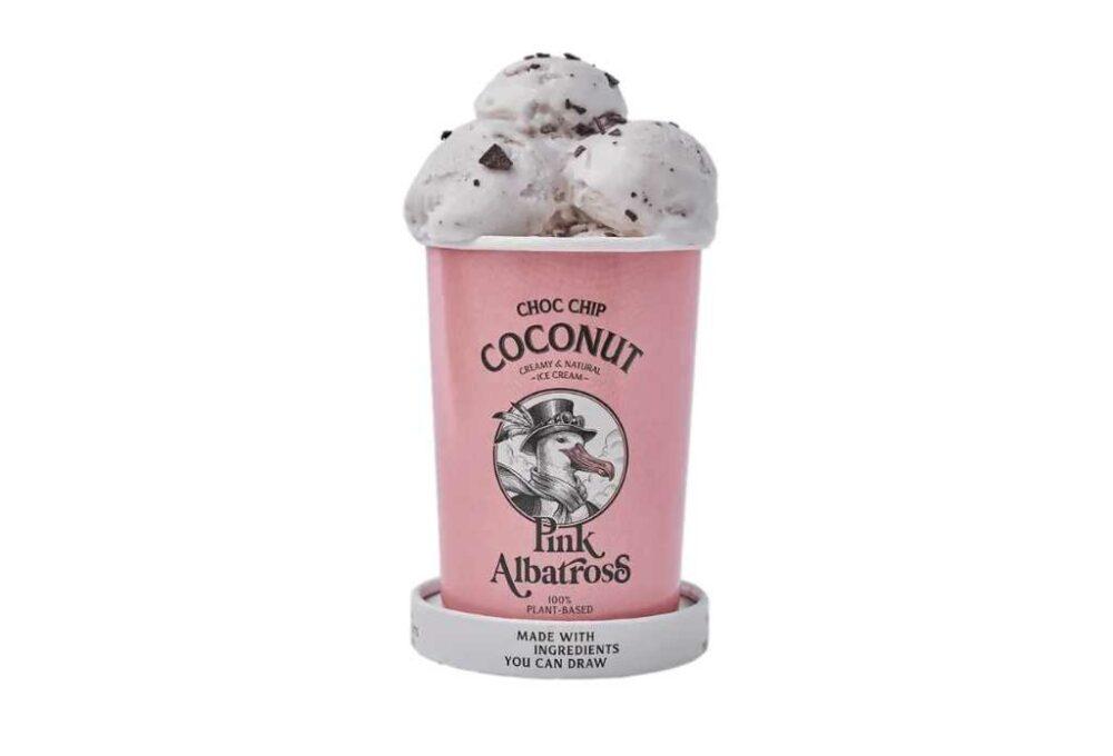 Gelat vegà de llet de coco amb xips de xocolata Pink Albatros